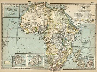 AFRICA Continent Map: Authentic 1897 (Dated) showing Cities, Railroads, Detailed