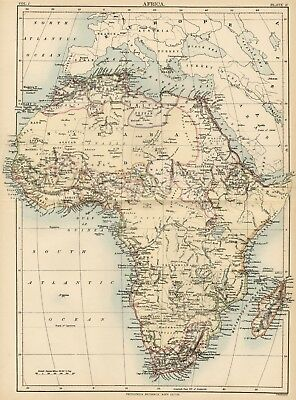 Africa Continent: Authentic1889 Map showing Countries; Cities; Rivers; +