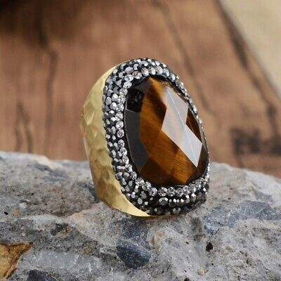 1Pcs CZ Paved Natural Tiger Eye Faceted Band Ring Gold Silver Plated DIY HJA949