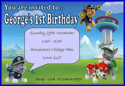 Paw Patrol Childrens Birthday Party Invitations Personalised Children Boy Girl