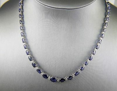 Classic 35.20Ct Sapphire and Diamond Necklace in 18k White Gold Over Silver 18""