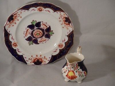 Gaudy Welsh? China Floral Milk Creamer Jug 9cms High & Plate 21cms Wide
