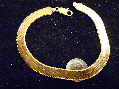 bling gold plated wrist fashion herringbone bracelet hip hop jewelry gp sz 7.5in