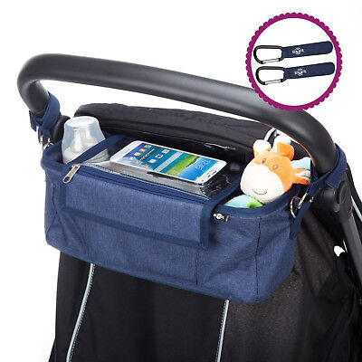 BTR Buggy Organiser Pushchair Pram Bag, 2 Pram Clips & Mobile Phone Pocket. Blue