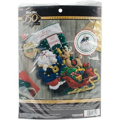 "Bucilla Felt Stocking Applique Kit 18"" Long-officer Santa"