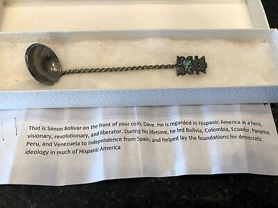 Antique Collectors Sterling Silver Spoon w/Simon Bolivar on Front dated 1919