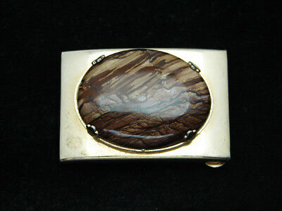RC01152 VINTAGE 1970s **BROWN AGATE STONE** WESTERN & COWBOY SOLID BRASS BUCKLE