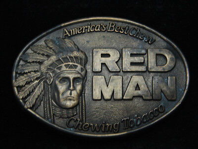 Ra01111 Vintage 1988 **Red Man Chewing Tobacco America's Best Chew** Belt Buckle