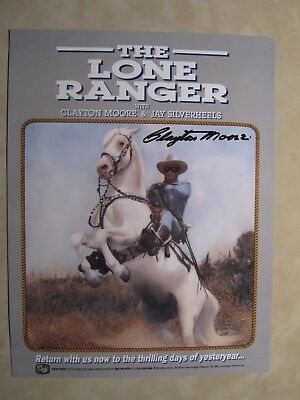 """AUTHENTIC hand autographed 8 1/2x11 picture by CLAYTON MOORE """"THE LONE RANGER"""""""