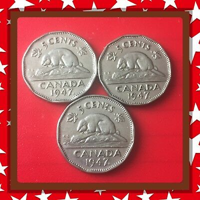 🇨🇦 Lot Of 3 1947 Maple Leaf Canada five cents Canadian nickel Coins #1472🇨🇦