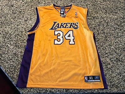 24b074ce NWT Shaquille O'neal gold NBA Los Angeles Lakers Jersey 34 vintage classic  SHAQ