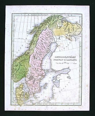 1835 Bradford Map - Sweden Norway Denmark - Stockholm Christiana Copenhagen Kiel