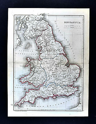 1871 Classical Map - Ancient Britannia Roman Britain England London Londinium