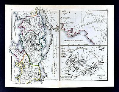 1871 Classical Map Ancient Greece - Athens Town Plan Acropolis & Boeotia Attica