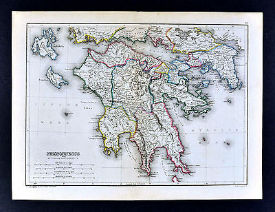 1871 Classical Map Ancient Greece Peloponnesus Sparta Corinth Athens Olympia