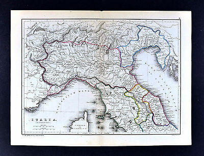 1871 Classical Map - Ancient North Italy Venetia Etruria Umbria Gallia Cisalpina