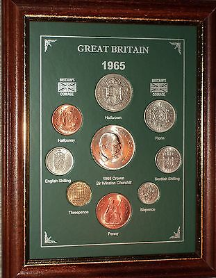 FRAMED 1965 CROWN COIN SET (RETRO 54th BIRTHDAY PRESENT WEDDING ANNIVERSARY GIFT