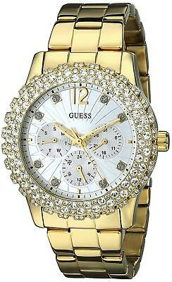 Guess U0335L2 Women's Gold Tone Silver Dial Crystal Accented Multifunction Watch