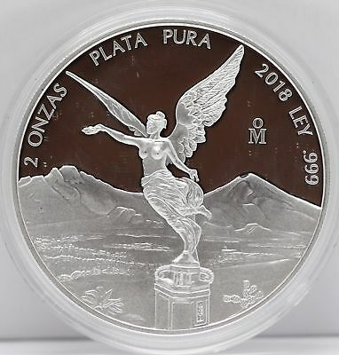 2018 Mexico 2 Oz Silver Proof Libertad Coin 999 Plata Pura Moneda JB543