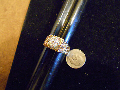bling gold plated cubic cz cluster iced out fashion ring jewelry hip hop sIze 7