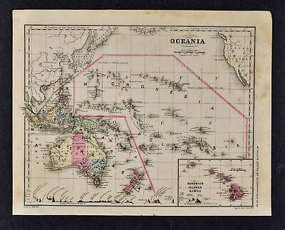 1882 Wells Map - Oceania Australia New Zealand Hawaii East Indies South Pacific