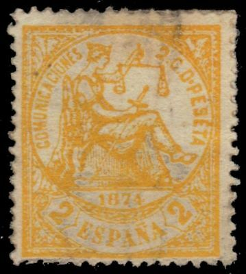 """SPAIN 201 (Mi135) - Allegory of Justice """"1874 Yellow"""" (pa71971)"""