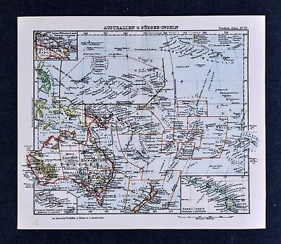 c1925 Taschen Atlas Map Oceania Australia New Zealand Tahiti Hawaii Fiji Samoa