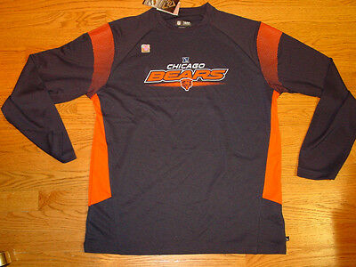 Mens L Nfl Moisture Wicking Chicago Bears Long Sleeve Shirt Large New Blue 23bbc667d