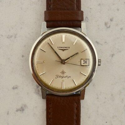 C.1965 Vintage Longines Flagship 35mm cal 285 mens wristwatch in stainless steel