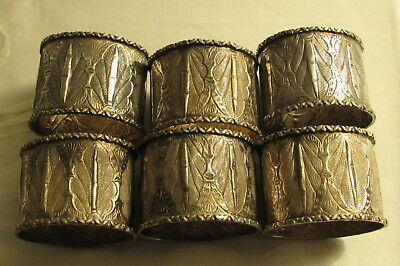 Chinese Burmese oriental six (6) set silver napkin rings stamped character marks