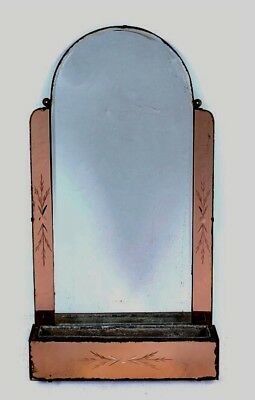 Art Deco Peach Glass Wall Mirror With Tin Lined Flower Trough