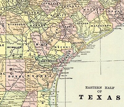 1900 Antique TEXAS Map Vintage Original State Map of Eastern Texas 6331