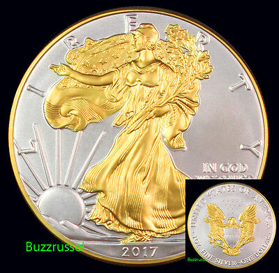 2017 Gilded American Silver Eagle .999 Bullion 1oz Ounce  Free Shipping 24K Gold