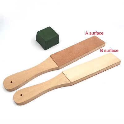 Dual Sided Leather Blade Strop Knife Razor Sharpener with Polishing Compounds