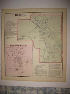 Vintage Antique 1874 Bedford Independence Cuyahoga County Ohio Handcolored Map