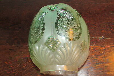 Rare Art Deco Blown frosted polished green glass bee hive Duplex oil lamp shade