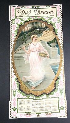 1909 Calendar Sign Pretty Lady Petry Grocer Johnstown Pa Day Dream