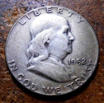 1952 Franklin Silver Half Dollar Nice Circulated Coin Some Nice Toning #1