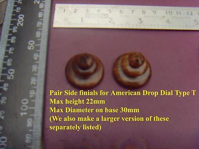 da type T - Pair stained wood SIDE FINIALS FOR AMERICAN drop dial WALL CLOCKS