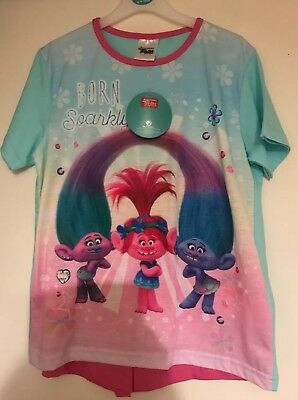 BNWT Girls Born Sparkly Trolls Patterned Short Pyjama Set. Age 9-10 Years