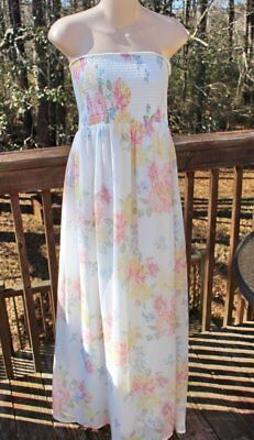 ed16aaafea1f Old Navy Smocked Tube Strapless Maxi Dress Size XL White Floral Chiffon  Easter