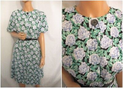 VINTAGE 1980s as 1940s WARTIME WW2 STYLE UK:14 GREEN FLORAL ELEGANT TEA DRESS