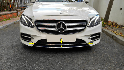 Mercedes Benz W213 E-class Saloon 2016+ Chrome Front Bumper Under Grill S.STEEL