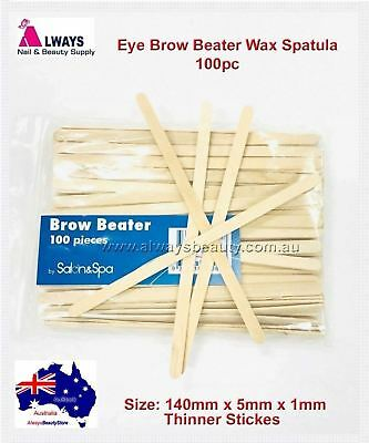 100pc Disposable Wooden Spatula Brow Beaters Wax Waxing Thinner Sticks