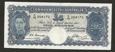1949 Five Pounds - Coombs/watt - George Vi - Very Fine Condition