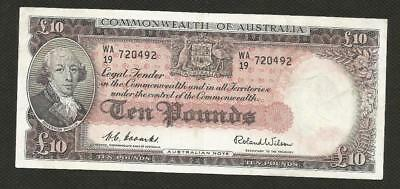 1954 Ten Pounds - Coombs/wilson  -*commonwealth Bank* - Very Fine Condition
