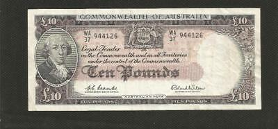 1960 Ten Pounds - Coombs/wilson  -*reserve Bank* - Very Fine Condition