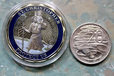 St Saint Christopher travel collector medal Coin Jesus Christ Catholic Christian