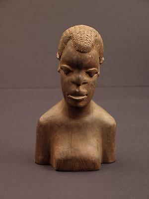 "Vintage Mid-20th Century African Bust, Male, 6 3/8"", Dense Wood"