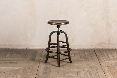 Burnt Oak Rustic Industrial Style Bar Stools Height Adjustable Cast Iron Seating